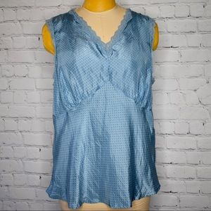 Old navy delicate lace blue silk v neck blouse 2X